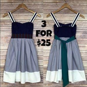Lux Color Block Sleeveless Sash Dress XS